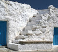 Nisyros - the old part of the monastery has small, simple cells with external steps up to the flat roofs