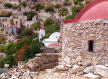 Tilos - Mikro Horio, the only buildings still used are the church and a music club - there is no-one to complain about the noise