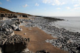 Ogmore is the eastern extremity of the limestone cliffs and wave-cut platform